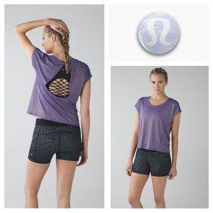 Lululemon Sweaty Or Not Crop Tee Open Back Purple